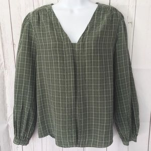 ANTHRO | CURRENT AIR Green Plaid Blouse